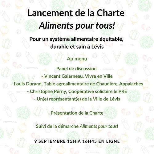 Visuel email lancement Charte Aliments pour tous!